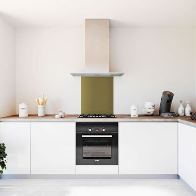 Glasplaat keuken kleur 600x700-olijf-mat
