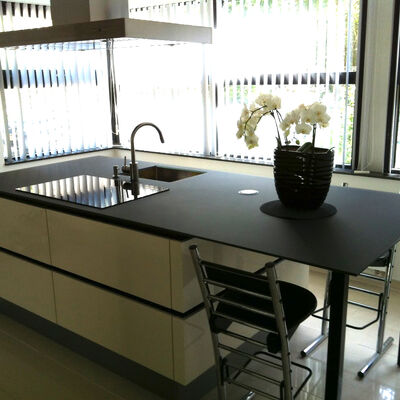 Glazen keukenwerkblad Basic Zwart mat