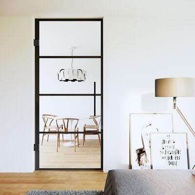 Glazen pendeldeur zwart, 4 vlakken