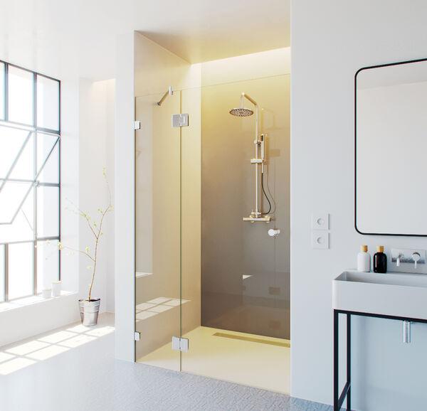 Glazen douchedeur met zijlicht glazz for Glasplaat op maat