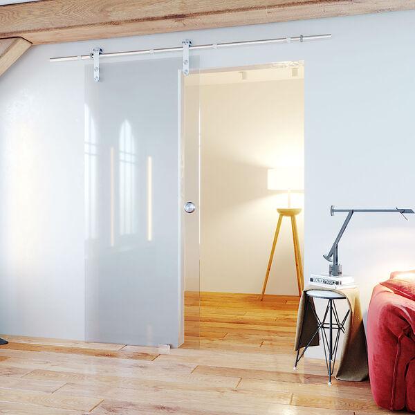 Rail Kamer En Suite Deuren.Glazen Schuifdeur Helder Glas Met Rvs Rail Glazz Reseller