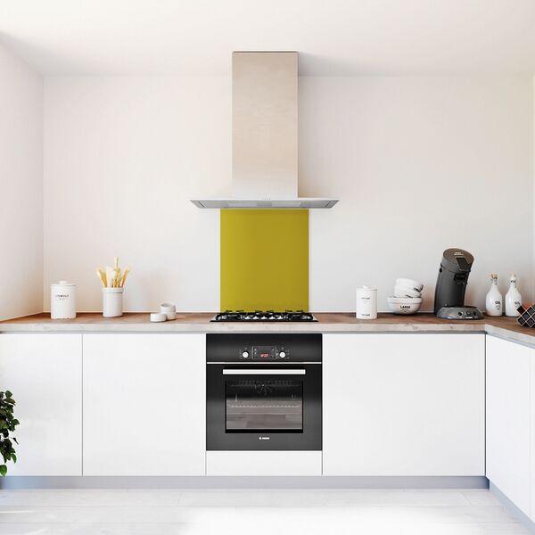 Glasplaat keuken kleur -trend-okergeel-mat