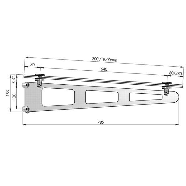 Glazen luifel Jens maatwerk tot 1.000x2.500mm