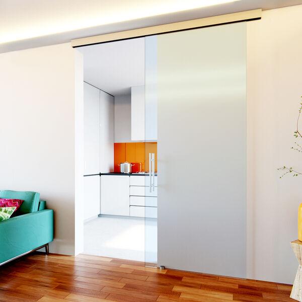 Glazen schuifdeur plafondbevestiging