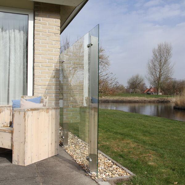 Glazen windscherm muurbevestiging bestellen