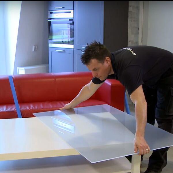 Montagefilmpje - glazen tafeblad meten en plaatsen