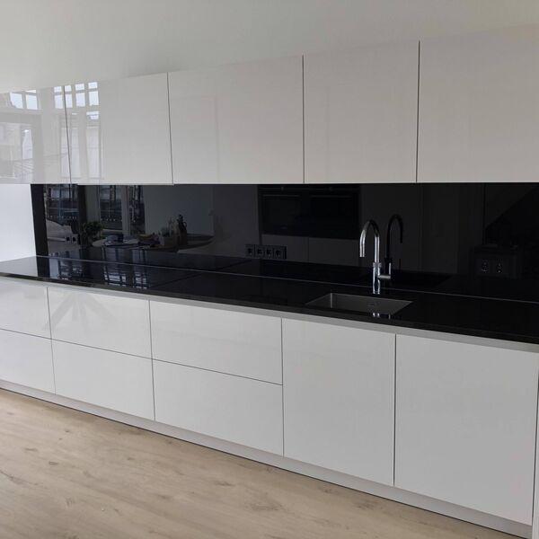 Glasplaat keuken hoogglans zwart (2)