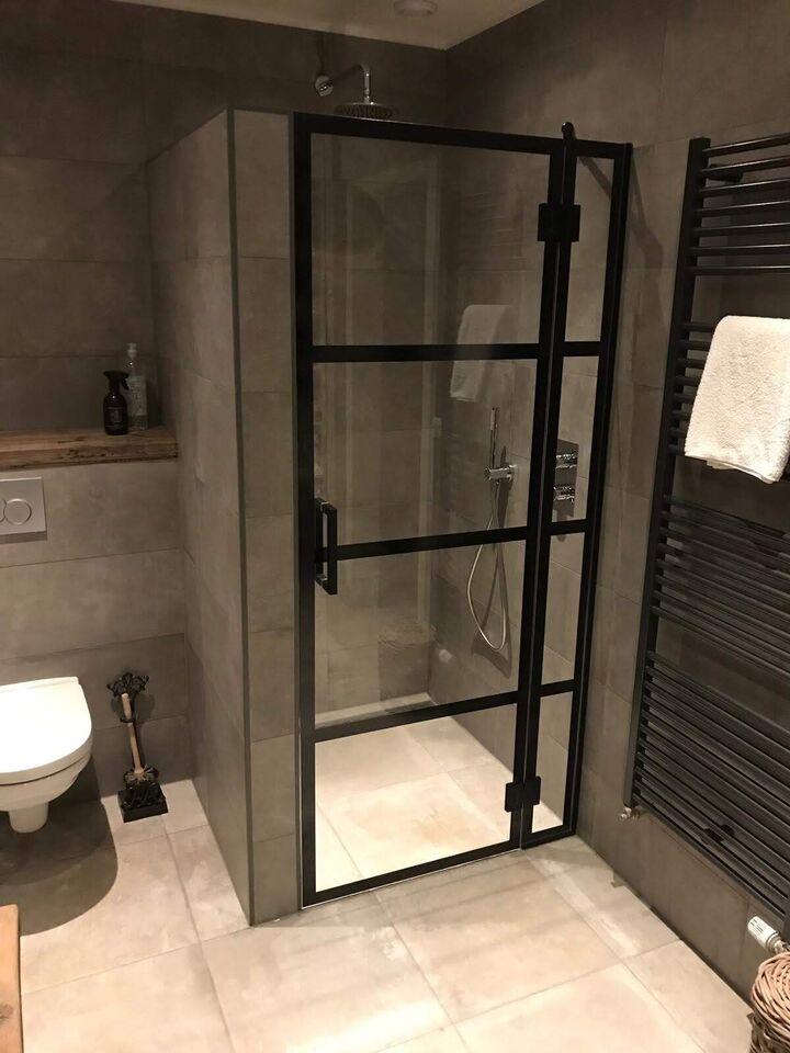 Douchewand met douchedeur zwart