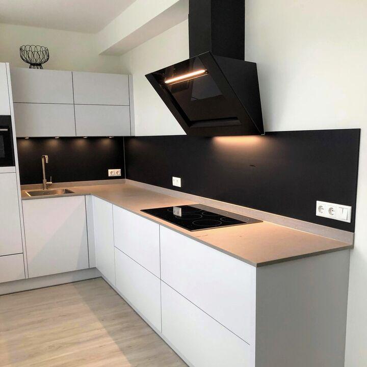 Glasplaat keuken mat zwart (3)