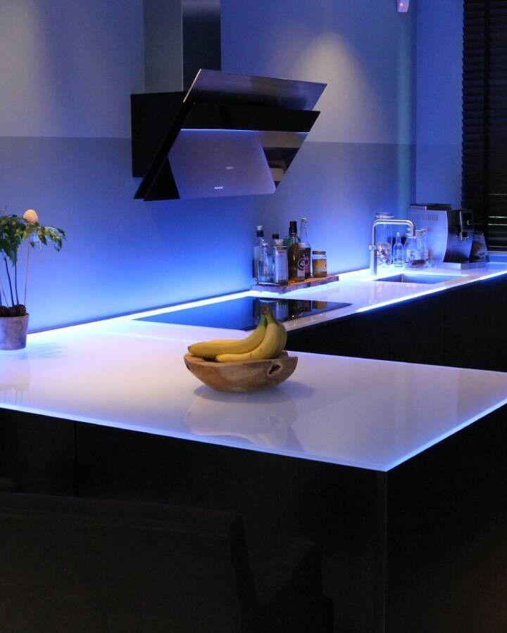 glazen keuken achterwand met led